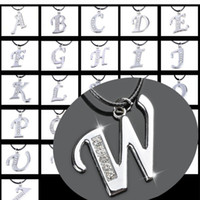 Wholesale Silver A to Z Letters Crystal Pendant Leather Cord Necklace Free N159 M
