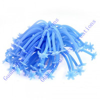 Wholesale 2016 Exquisite Aquarium Fish Tank Silicone Artificial Sea Plant Anemone Ornament Blue SZ099