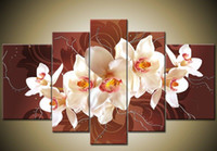 More Panel Oil Painting Abstract Framed 5 Panel Large Orchid Canvas Painting Wall Art Home Decoration Brown Picture XD00923