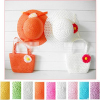 Wholesale free shinppingNew Korean baby girls big bags along the eaves hat baby flower piece of paper straw beach hat