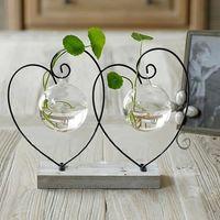 Wholesale flower vase home decoration vases home decor iron heart shape glass vase creative design decorative vases home vase table top decoration