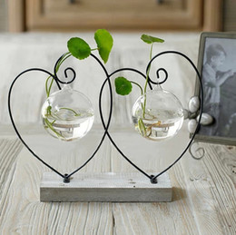 Wood pad flower vases home decoration glass vases pots iron shelf wedding party supplies decorative vases new yeartable top decoration