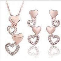 Wholesale Mix Items And Colors Rose Gold Plated Charming Double Heart Crystal Jewelry Sets