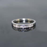 Band Rings wedding bands - Fashion full crystal CZ stones silver L stainless steel wedding rings vintage women wedding band rings finger jewelry