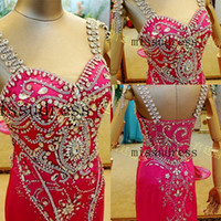 Reference Images Spaghetti Straps Chiffon Wow,so Shine!2014 New Lavish Spaghetti Crystal Beaded Evening Dress Prom Gown Pageant Dress Frees Shipping