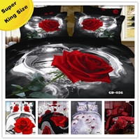Wholesale 6PCS D Red rose printed with Super King size bedding set luxury Duvet cover set