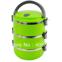 Ceramic Dinnerware Sets Eco-Friendly Three Layers Stainless Steel Children Lunch Box 2.1L Keep Warm Food Container For Kids Children's Tableware Dinnerware 15311