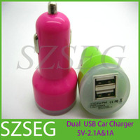 For Samsung Car Chargers  Beautiful Dual USB 2 Port Car Charger Cigarette 2.1A & 1A Auto Power AC Adapter for iPhone 5 5C 5S iPad 2 3 4 Mini Samsung Galaxy S3 S4 Htc