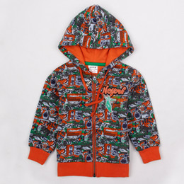 Wholesale A3463 Nova fresh stock m y baby printing sweatshirts autumn winter red orange long sleeve fleece zippered hooded Hoodies for boys