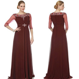 Wholesale 2014 Charming Mother of the Bride Dresses A Line Crew Rust colored Long Sleeve Beads Pleated Beads Evening Dress Formal Dresses