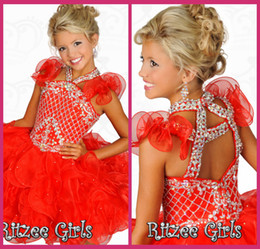 Little Girls Pageant Dresses Halter Red Ball Gowns Short Beading Crystal Cheap Flower Girl Gowns