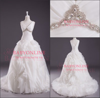 bridal gown sweep train - 2014 Real Sample A Line Wedding Dresses V Neck Sweep Train Button Cascading Ruffles Crystals Pleats Organza White Bridal Gowns BO3705