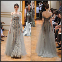 Reference Images Off-the-Shoulder Lace Zuhair Murad 2014 Collection Vintage Pageant Dresses Off the Shoulder Beaded Appliques Gray Tulle Lace Mermaid Evening Prom Dresses