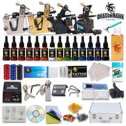 Wholesale Complete tattoo kits machine guns inks power supply grips tips disposable needles pedal DIY DHGD