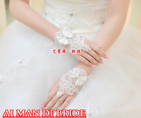 Wholesale Short Style Bridal Gloves Best Selling Butterful With Lace Bridal Accessories New Style