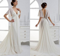 Wholesale ZM Chiffon Beads Sequins Amazing Wedding Dresses Long Tail Deep V Neck Backless Poet Half Sleeve New Year Design Sexy Beach Bridal Gown