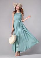 beautiful dresses - 2014 Fashion colors Women s dress Pleated Wave Chiffon Strap Princess Chiffon Maxi long dress beach beautiful dresses not include belt
