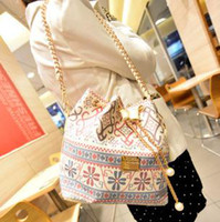 Wholesale Bohemia Drawstring Bag Canvas PU Leather Low Price New B8