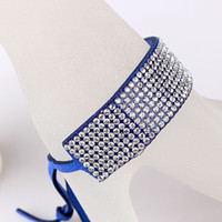 Wholesale Fashion Multi row Rhinestone Inlaid Leather Bracelet Chain Jewelry Hand Chain LW312407