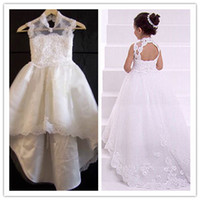 Model Pictures Girl Lace Charming 2014 New A line Lace Girl's Flower Dresses Backless High Neck Sweep Train Baby Formal Occasion First Communion Skirt Real Image SSJ