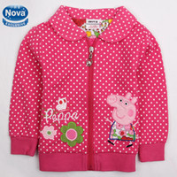 Jackets Girl Spring / Autumn Hot F4298# Pink Nova Kids Winter Coats 18m-6y Baby Girls Fleece Hoodies Cartoon Peppa Pig & Flower Embroidery Long Sleeve Polka Dots Jackets