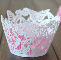 Wholesale Butterfly Vine Cupcake Wrapper Laser Cut Cake Liners Wedding Party Baby Shower Cake Decoration