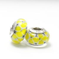 Glass Flowers Yellow 5pcs 925 ALE Sterling Silver Screw Core Lampwork Yellow Flower Murano Glass Bead Fits European Pandora Jewelry Charm Bracelets & Necklace