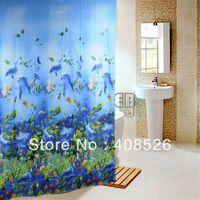 Wholesale 180 x Bathroom Ocean Sea Life Waterproof Fabric Shower Curtain With Hook Blue TK0761