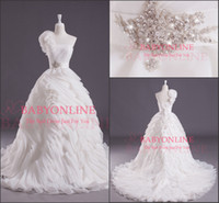 A-Line 3d pictures - Real Picture Vintage Wedding Dresses A Line One Shoulder D Flower Ruffles Handmade Flowers Crystals Court Train Elegant Bridal Gowns BO3709