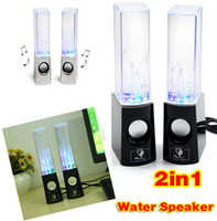 Cheap Dancing Water Speaker Music Audio 3.5MM Player for Iphone 4s 5s USB LED Light 2 in 1 USB mini Colorful Water-drop Show for Tablet PCs