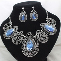 Chokers Jewelry Sets Fashion 2013new brand party rhinestone blue crystal jewelry sets costume high quality necklace and earring sets for women free shipping