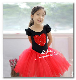 Children ballet dance dress kids Performance clothing girls red heart pattern short sleeve ballet tutu dress Kids Dance Costume 3142