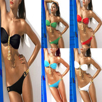 Wholesale Sexy Women Anchor Bikini Set Padded Swimwear Gold Navy Anchor Pendant Swimsuit Bathing Suit Girls lady sexy Swimming wear