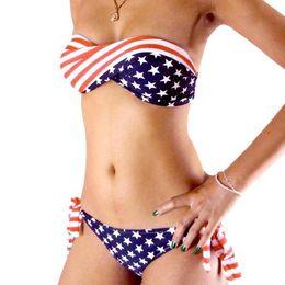 Wholesale ON SALE swimsuit swimwear Women Sexy bikini STARS STRIPES USA Flag PADDED TWISTED BANDEAU swim suit tube swim wear