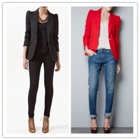 Women Suit Formal OL Temperament Women Business Suit Shoulder Pad Long Sleeve Slim Blazers Outwear Red Black Suit jacket Coat SXD0344