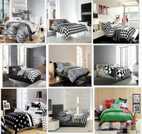 Twill Adult 100% Cotton new arrival fashion free shipping 4pcs cotton reactive black white printed queen bedlinen bedclothes quilt cover bedding set