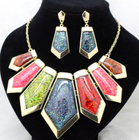 Chokers Jewelry Sets Fashion fashion brand colorful 18Kgold high quality jewelry sets costume fancy vintage necklace and earrings set for women free shipping