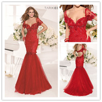Wholesale 2014 New Red Sexy Mermaid Evening Prom Dresses Prom Gown vestidos de fiesta Cap Sleeves Beaded Lace Trumpet Tarik Ediz Party Dress