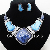 Chokers Jewelry Sets Fashion brand high quality dark blue chunky jewelry sets fashion wedding costume necklace and earrings sets for women free shipping