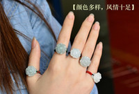 Wholesale Natural jade ring female personality by hand woven jade ring