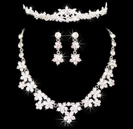 Wholesale Shinning Women Jewelry Accessory Diamond Bridal Jewelry Sets Wedding Necklace earrings crown set