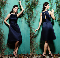 Wholesale 2015 New Arrival A Line Crew Neck Ruched Maid Of Honor Satin Knee Length Short Dark Blue Satin Bridesmaid Dresses DL1311011