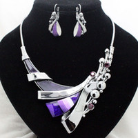 Chokers Jewelry Sets Fashion fashion designer purple wedding jewelry sets high quality costume fancy party necklace and earrings sets for women free shipping