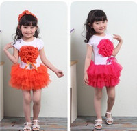 TuTu Summer Pleated baby girl 3D flower dress Kids Summer Cotton short-sleeve layered Tutu Lace dress baby girl flower one-piece dress Children Clothing SY