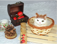 Farm Animals handmade craft - 2014 Simulation cat rabbit fur handmade crafts home furnishings simulation animal with basket
