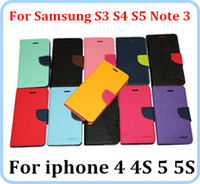 Wholesale Mercury Wallet PU Leather Flip Case With Stand Holder card Slot For Cell phone Cases Samsung Galaxy S5 S3 S4 NOTE M7 G2 iphone S S