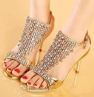 Women Stiletto Heel  Brand New Luxury Gold Silver Dance Shoes Crystal Diamond Wedding Shoes designer shoes women high heel groom dress shoes