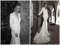 Wholesale DMW011 Dreamaker Long sleeve elegant real sample sheath alibaba lace Court Train wedding dress China