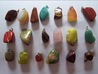 Wholesale natural stone pendants mixed new cats eye rose quartz crystal red agate fit necklaces genuine jewelry
