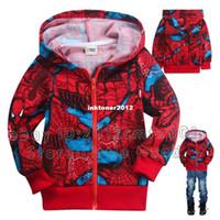 Unisex Spring / Autumn Children 2014 Winter Kids Jackets Youth Boys Hoodies Zip Up Spiderman Red Teen Dresses M Size 2-8